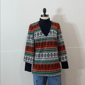 Vintage Holiday Layered Sweater Top